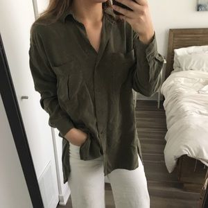 Zara Relaxed Military Shit with Split Back